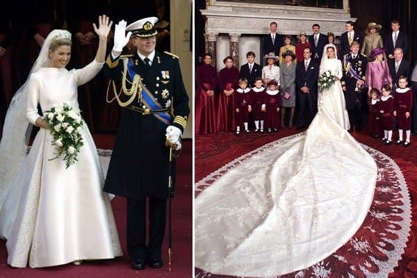 Máxima Zorreguieta se convirtó en princesa cuando se casó con el príncipe Guillermo de Holanda, en 2002. Ese día lució un vestido de seda de color marfil, de escote alto y mangas tres cuartos, con cola de más de cinco metros y una corona con abundancia de perlas. Foto: Archivo
