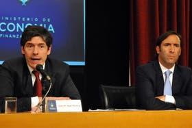 Abal Medina y Lorenzino, durante la conferencia de prensa