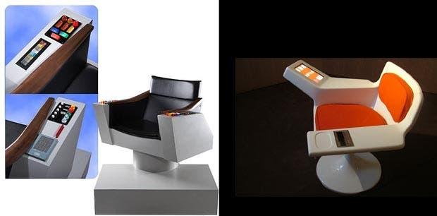A la izquierda el sillón de Star Trek, a la derecha el silló del Cybesyn Room