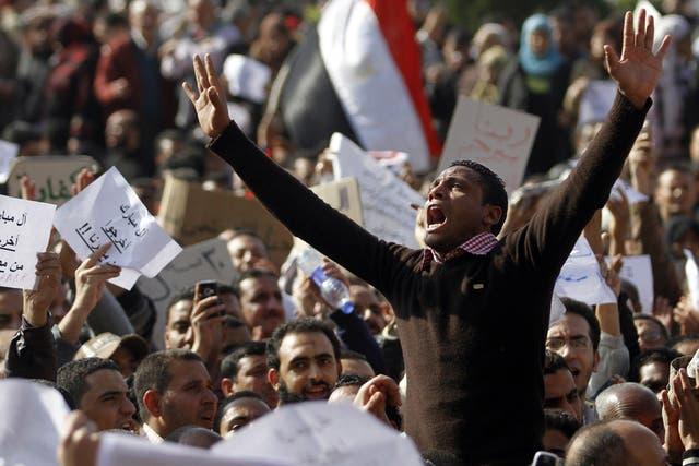 Una protesta en el centro de El Cairo, ambas manifestaciones, durante 2011