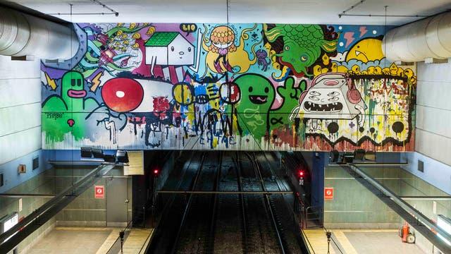 Obra colectiva de artistas urbanos realizada en la Línea A, en la estación Carabobo. Foto: SBASE