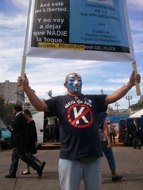 Arturo Velazco, de 51 años, llegó desde Mar del Plata para manifestarse contra la reforma judicial