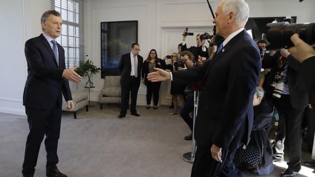 Macri y Pence, durante su reunión en Buenos Aires