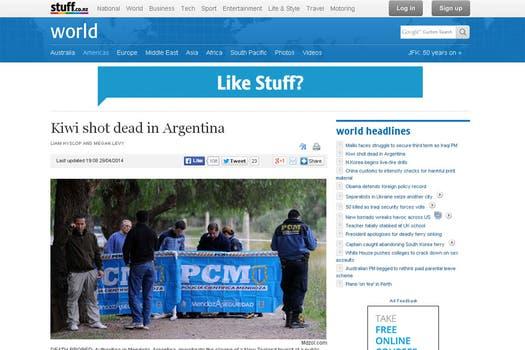 """Stuff, de Nueva Zelanda, titula que """"mataron a un kiwi en la Argentina""""."""