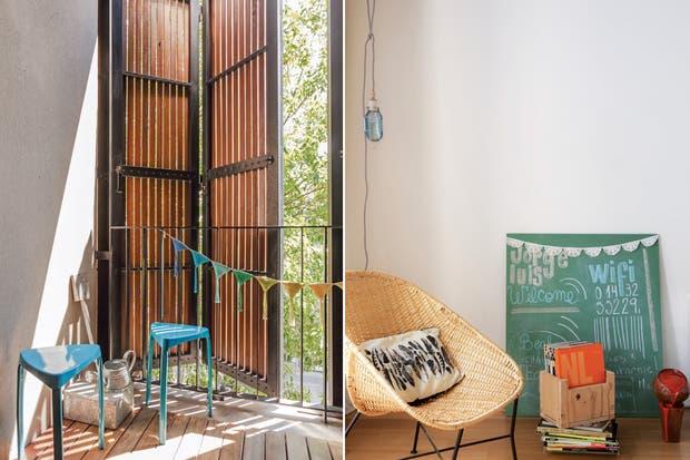 Junto a la ventana, un rincón de lectura con cómodo sillón de mimbre (Mimbrería Marcovecchio Hnas.), pizarrón y caja de madera (Mercado de Pulgas de Dorrego) con libros.  Foto:Living /Daniel Karp