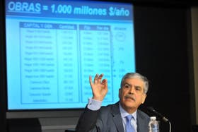 Julio de Vido durante la conferencia de prensa en el Ministerio de Economía