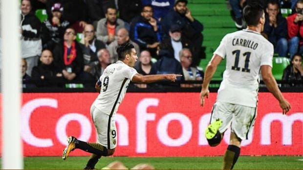 Falcao grita su gol ante Metz