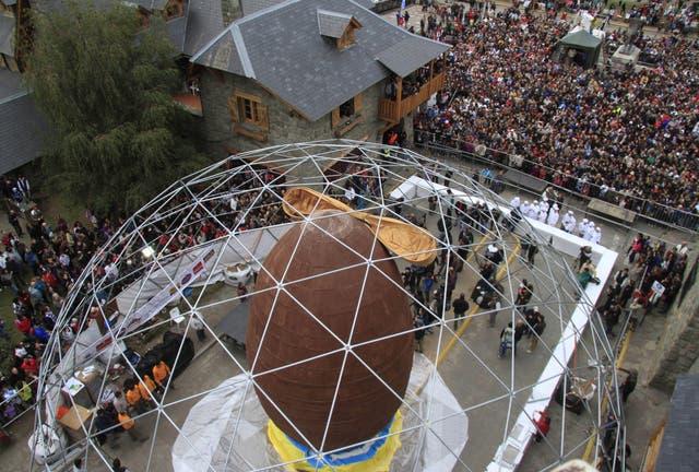 Vista de la multitud que acudió al evento en Bariloche
