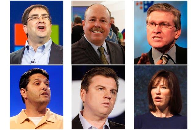 De izquierda a derecha, Eric Rudder, Kevin Turner, Jeff Raikes y (abajo) Terry Myerson, Tony Bates y Julie Larson-Green, ejecutivos senior de Microsoft que podrían ser el futuro CEO