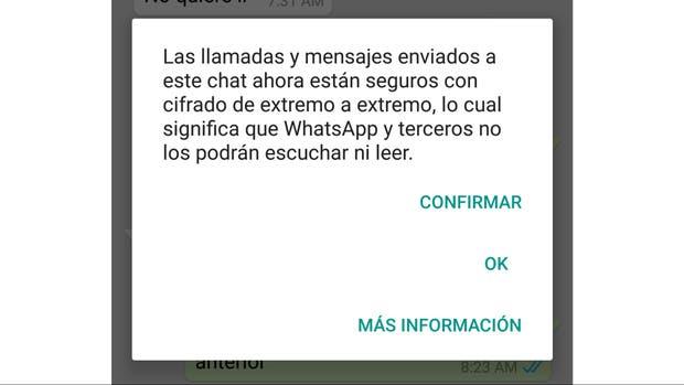 El mensaje que alerta de la activación del cifrado en Whatsapp
