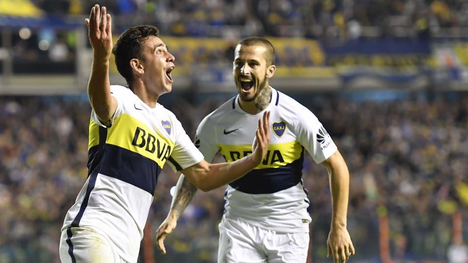 Boca Juniors superó por 3 a 0 a Arsenal de Sarandí en un encuentro disputado por la fecha 22 de Primera División. Gonzalo Maroni (20), autor del tercer gol, festeja el tanto convertido en su debut.