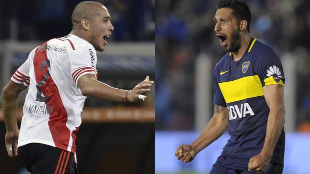 Jonatan Maidana, de River, y Juan Manuel Insaurralde, de Boca; dos hombres que serán fundamentales en equipos que toman muchos riesgos