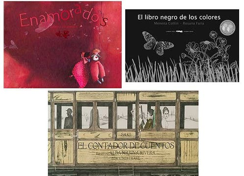 El libro negro de los colores, $82; Enamorados, $99 y El contador de cuentos, $96. En www.librosdeloso.com.ar. Foto: lanacion.com