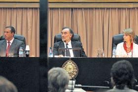 El tribunal, en pleno, antes de la lectura del veredicto