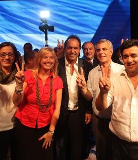 Scioli, anoche, en un acto político con funcionarios de su gobierno, en La Plata