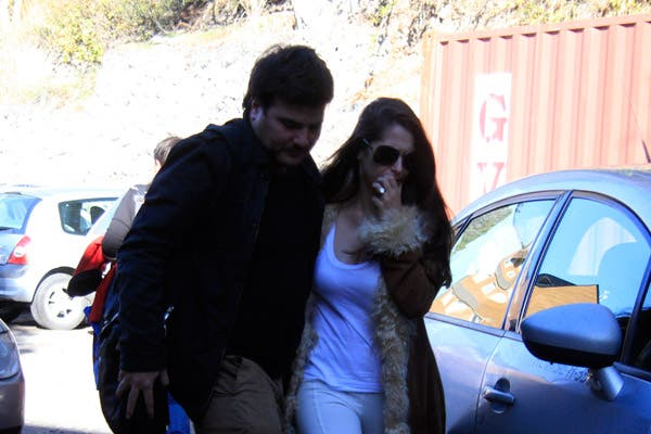 Vanucci llegando al Sanatorio San Carlos, en Bariloche, ayer