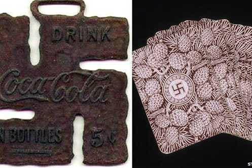 Coca-cola anunciaba su producto con una esvástica en EE.UU. donde también se jugaba con naipes estampados con ese símbolo