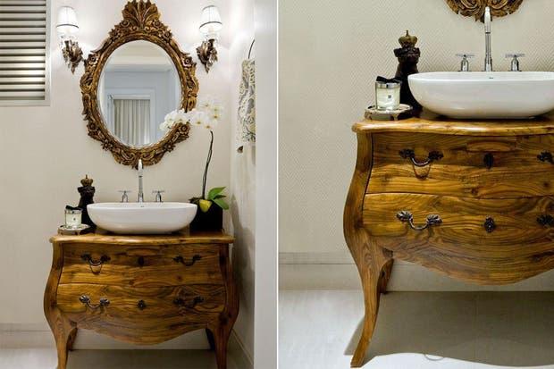 Estos muebles fueron restaurados y reacondicionados para funcionar como vanitorys con un estilo personal.  /Decorfacil.com