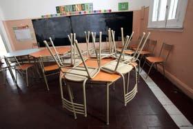 Las aulas, vacías en medio del paro