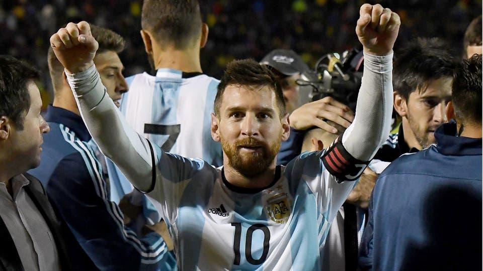 Lionel Messi y el alivio de estar en la copa del Mundo. Foto: Télam