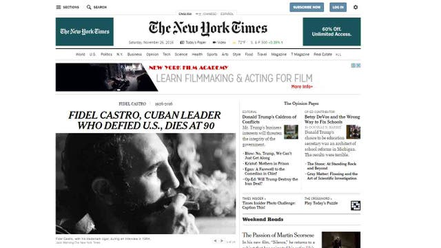 La muerte de Fidel Castro en The New York Times