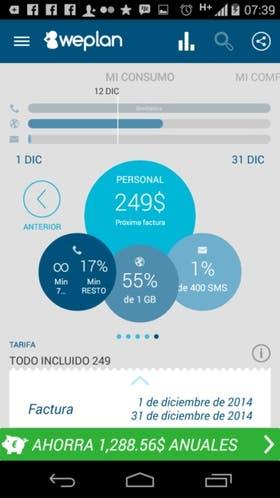 Una vista de la aplicación WePlan