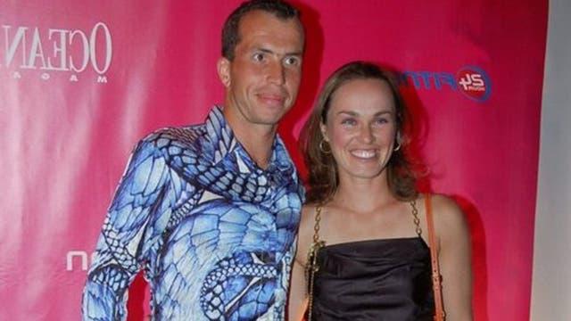 Stepanek junto a su ex novia Martina Hingis