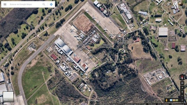 Vista aérea del Hangar de Aerolíneas Argentinas en Ezeiza