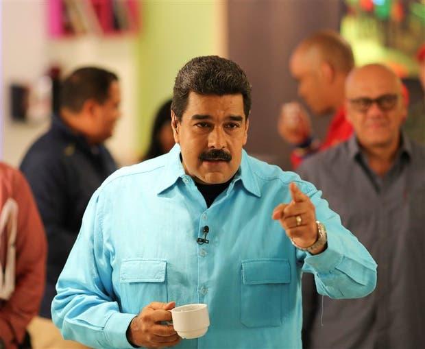 Maduro, anteayer, durante su programa semana del televisión