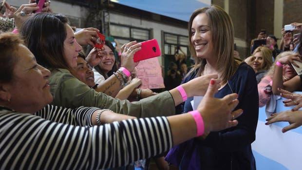 María Eugenia Vidal, durante el encuentro con mujeres en el partido de Tres de Febrero