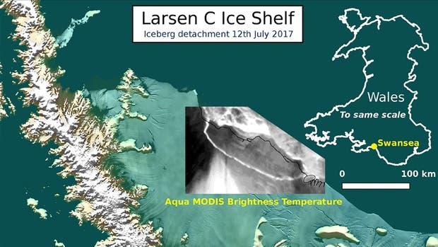 El iceberg es 25 veces más grande que la Capital Federal