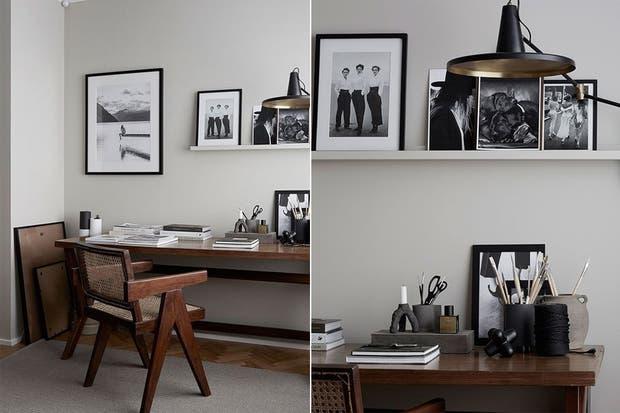Sobrio y masculino, este rincón combina la calidez de la madera en un tono oscuro con detalles en la escala de grises.  /Bloglovin.com