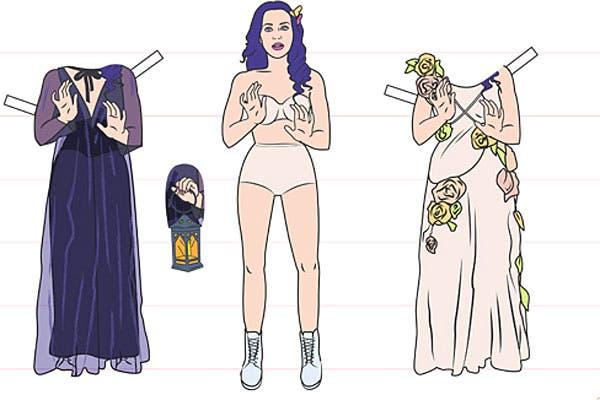 Katy Perry, con dos looks bien femeninos.