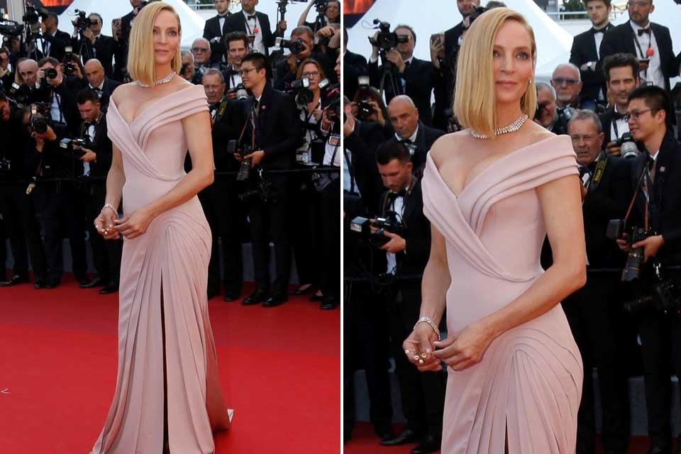 Uma Thurman impecable con este vestido en rosa empolvado creado por Atelier Versace.