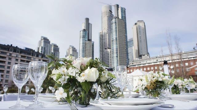 Las mesas más lindas tenían flores, luces y centros de mesa