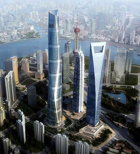 La Torre de Shangai (izq) junto al Shangai World Financial Center