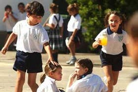 Alumnos del nivel primario del colegio Northlands que comenzaron las actividades la semana pasada
