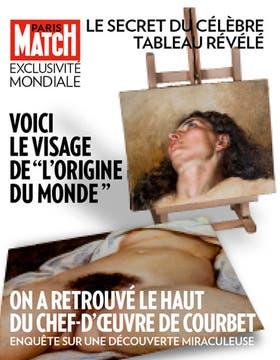 """La portada de la revista Paris-Match, en la que se muestra el retrato del rostro de la modelo del polémico """"Origen del Mundo"""" de Gustave Courbet"""
