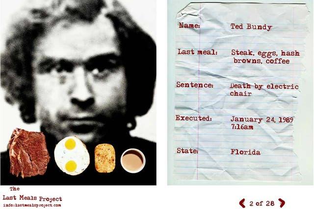 Ted Bundy es uno de los condenados a muerte que Kambouris sumó a su proyecto. El asesino serial eligió como su última comida un bife, huevos, croquetas de papas fritas y café