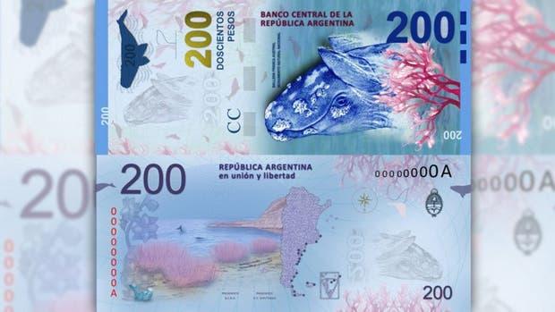 El nuevo billete de 200 pesos, ilustrado con una ballena
