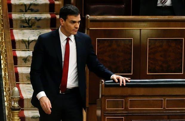 Sánchez, ayer, tras ser rechazada su investidura en el Congreso