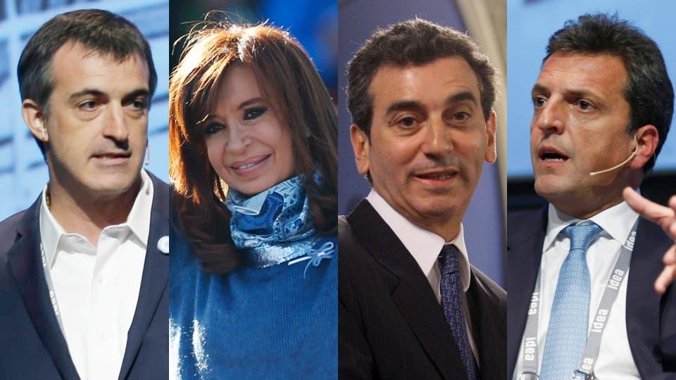 Esteban Bullrich, Cristina Kirchner, Florencio Randazzo y Sergio Massa, confirmados en la carrera por el Senado