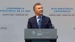 Mauricio Macri, al hablar esta tarde en la Conferencia Ministeria de la OMC