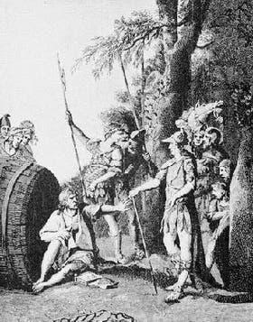 Encuentro del filósofo Diógenes con Alejandro Magno en el que le demuestra al hombre más poderoso del mundo que ser frugal conduce a la felicidad