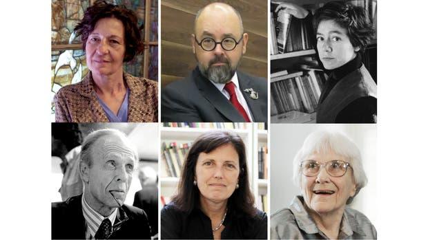 Liliana Bodoc, Carlos Ruiz Zafón y Alejandra Pizarnik (arriba); Adolfo Bioy Casares ,Claudia Piñeiro y Lee Harper (abajo)