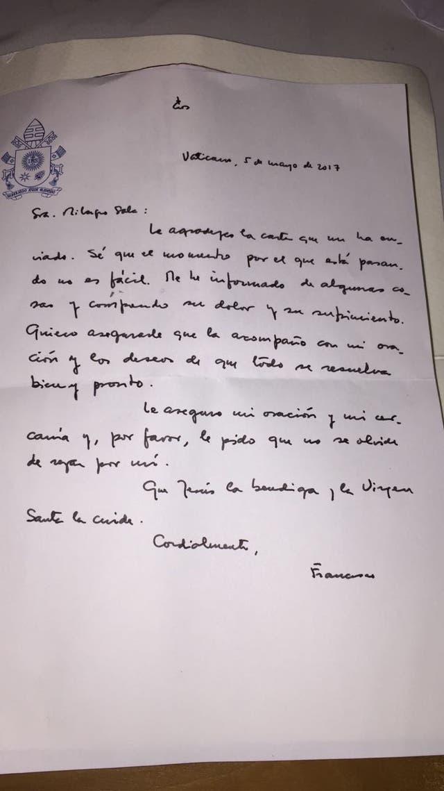 La carta que le envió el Papa Francisco a Milagro Sala