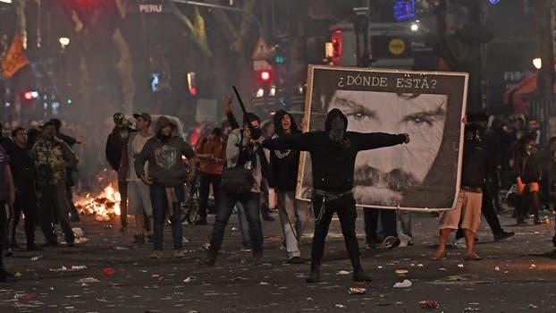Incidentes y destrozos durante la marcha por Sebastián Maldonado. Foto: Télam / Víctor Carreira