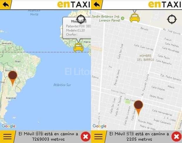 La captura de pantalla de la aplicación que mostraba el móvil en Togo, África