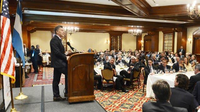 """Macri en el almuerzo con empresarios en Houston: """"Necesitamos que las mejores empresas vengan a asociarse con la Argentina"""". Foto: Presidencia"""