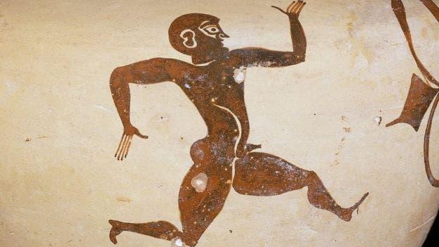 Esta imagen aparece en una ánfora encontrada en Rodas y data del año 500 A.C., época en la que las carreras se hacían en línea recta